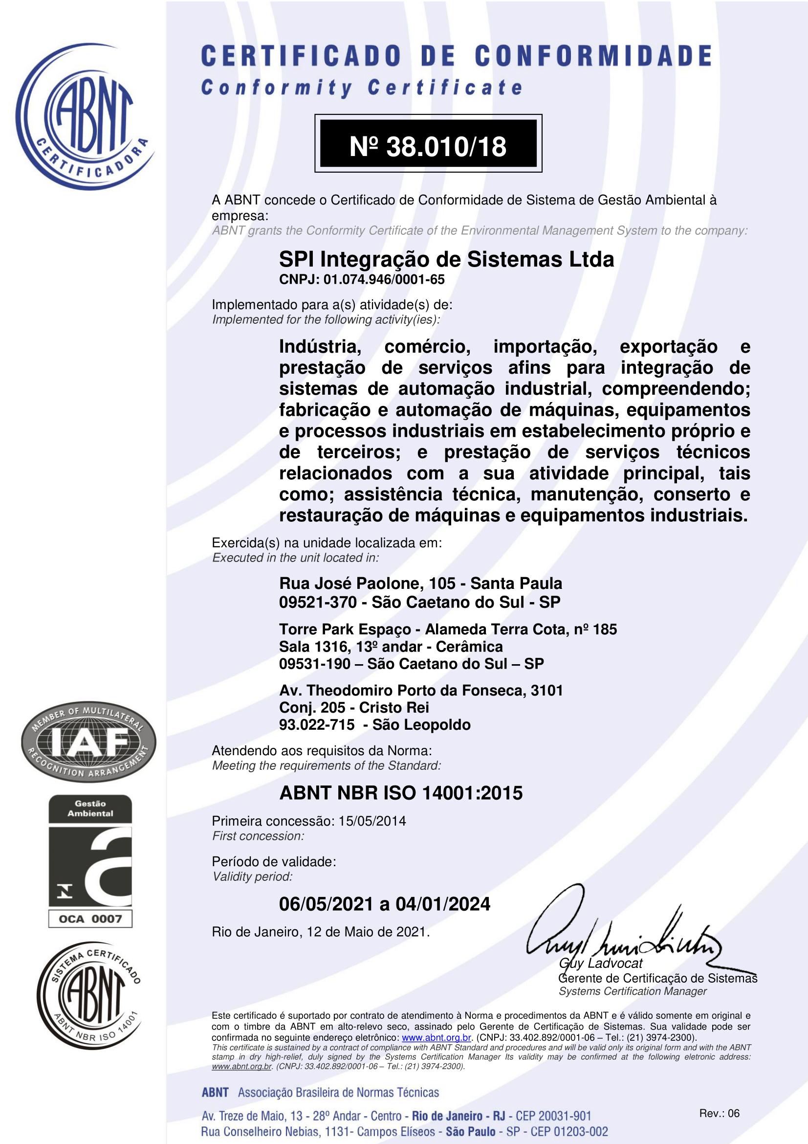 SPI Integração – ISO 14001 – 2015-1